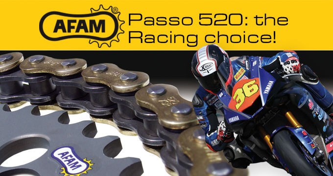 Kit trasmissione AFAM passo 520: look e prestazioni racing.